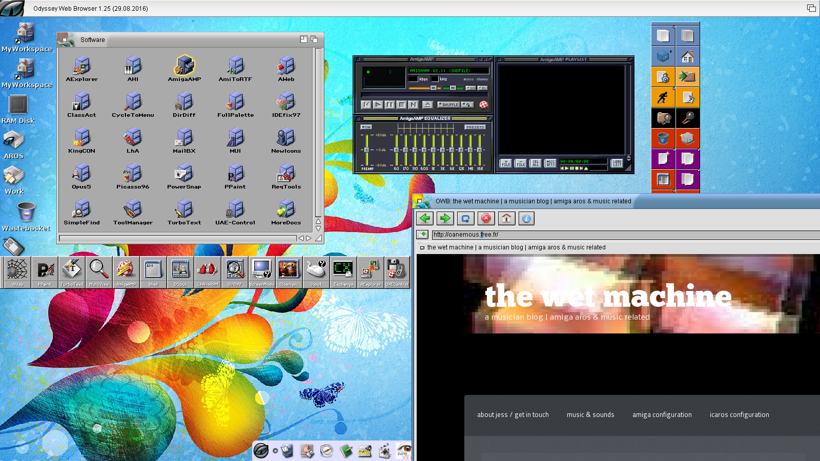 amiga amp running in coherency mode on top of wanderer windows. Tools manager can be used to launch you applications !