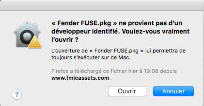 Fender Fuse on Mac OS X Sierra, High Sierra and Mojave