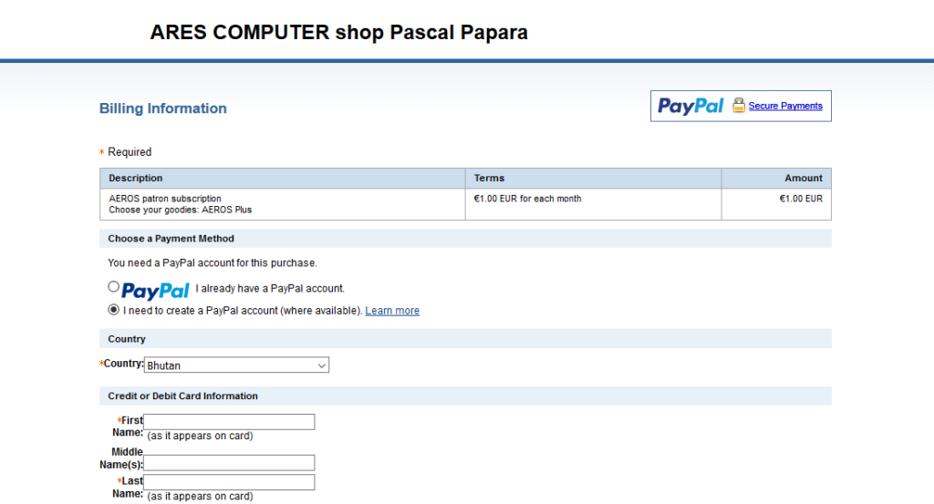 You are redirected to the paypal shop for ARES